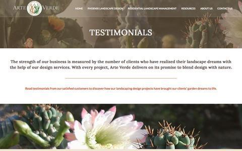 Screenshot of Testimonials Page arteverde.com - Phoenix Landscaping Design, Phoenix Garden Landscaping, Phoenix Water Features, Phoenix Patio Living, Phoenix Outdoor Kitchen - captured July 30, 2018