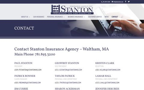 Screenshot of Contact Page stantonins.com - Contact Stanton Insurance Agency - Waltham MA Insurance Agency - captured Dec. 16, 2016