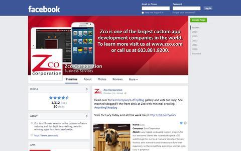 Screenshot of Facebook Page facebook.com - Zco Corporation - Nashua, New Hampshire - Business Services | Facebook - captured Oct. 27, 2014