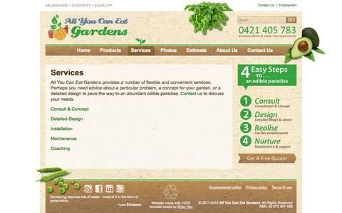 Screenshot of Services Page allyoucaneatgardens.com.au - Services | All You Can Eat Gardens - captured Sept. 30, 2014