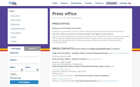Screenshot of Press Page flybe.com - Press Office - Media - Corporate   Flybe UK - captured Oct. 29, 2014