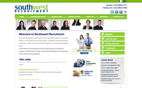 Screenshot of Home Page Terms Page southwestrecruitment.com.au - Southwest Recruitment - IT, Business, Accounting and Sales Jobs - captured Oct. 7, 2014