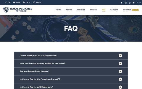 Screenshot of FAQ Page royalpedigree.co - FAQ ⋆ Royal Pedigree Pet Care - captured July 11, 2018