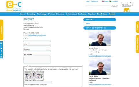 Screenshot of Contact Page elephant-consulting.com - elephantconsulting | Contact - captured Oct. 29, 2014