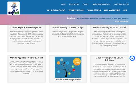 Screenshot of Services Page nepsolweb.com - Web design and Web Development, E-Commerce Solutions, SEO, Domain Registration , Web Hosting and Social Media Marketing service provider in Nepal - captured Nov. 3, 2017