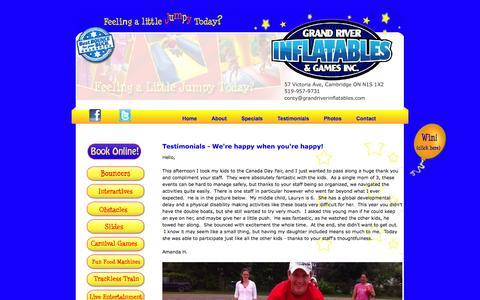 Screenshot of Testimonials Page grandriverinflatables.com - Grand River Inflatables & Games Bouncer Rentals *519-957-9731* - Testimonials - captured Oct. 3, 2014