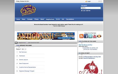 Screenshot of Jobs Page 1015thehawk.com - 101.5 FM The Hawk   Jobs   Table - captured Oct. 3, 2014