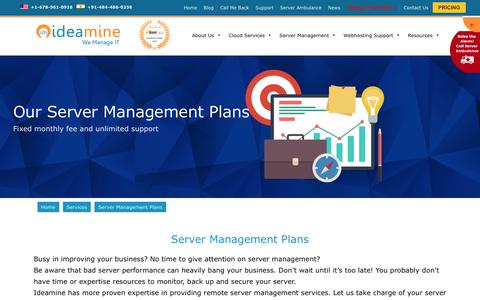 Screenshot of Pricing Page ideaminetech.com - Server Management Plans 24/7 Starts from $49 only - Ideamine - captured Oct. 14, 2017