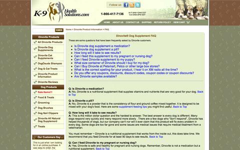 Screenshot of FAQ Page k9healthsolutions.com - Dinovite Product Information - Dinovite速 Dog Supplement FAQ - captured March 8, 2016