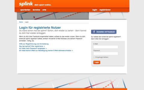 Screenshot of Login Page splink.de - Login - captured Oct. 5, 2014