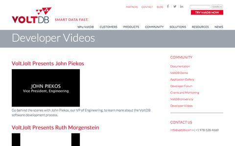 Screenshot of Developers Page voltdb.com - In-Memory Database Videos   VoltDB - captured Oct. 28, 2014