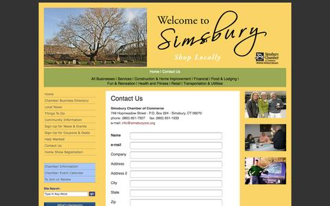 Screenshot of Contact Page simsburycoc.org - Simsbury Chamber of Commerce - Simsbury CT - Contact Us - captured Oct. 4, 2014