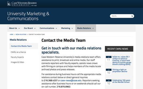 Screenshot of Contact Page case.edu - Contact the Media Team | University Marketing & Communications | Case Western Reserve University | Case Western Reserve University - captured July 12, 2018