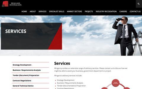 Screenshot of Services Page mingara.net.au - Services - captured Oct. 19, 2017