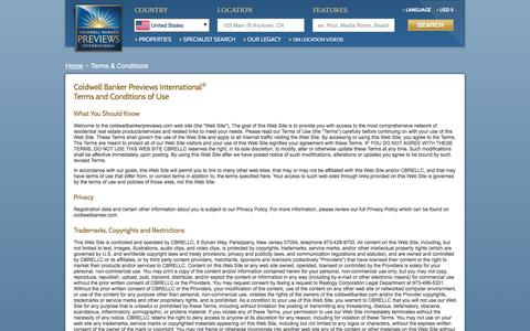 Screenshot of Terms Page coldwellbankerpreviews.com - Terms and Conditions  - Coldwell Banker Previews International - captured Nov. 8, 2016