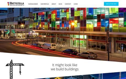 Screenshot of Home Page battistella.ca - Calgary Condos For Sale Downtown | Battistella Developments - captured Oct. 5, 2018