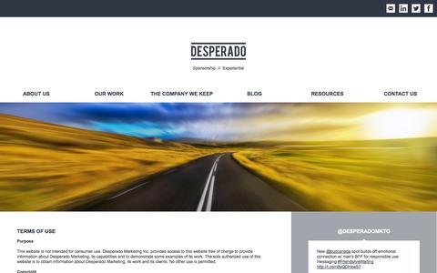 Screenshot of Terms Page desperadomarketing.com - DESPERADO // Terms of Use - captured Oct. 5, 2014