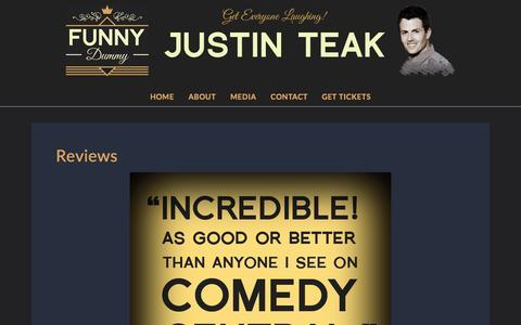 Screenshot of Testimonials Page funnydummy.com - Reviews   FUNNY DUMMY Comedian & Ventriloquist   Justin Teak - captured Sept. 25, 2015