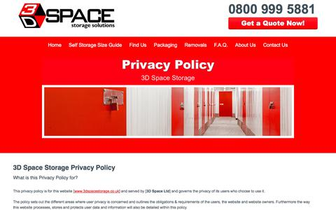 Screenshot of Privacy Page 3dspacestorage.co.uk - Privacy Policy - 3D Space Storage - captured Nov. 6, 2017