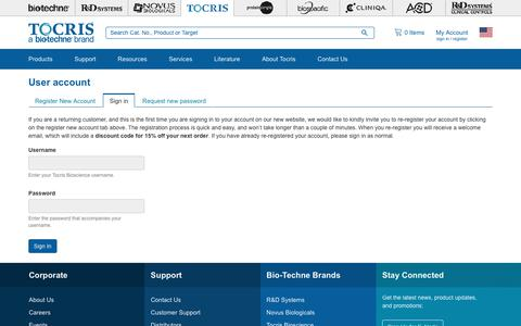 Screenshot of Login Page tocris.com - User account | Tocris Bioscience - captured Sept. 22, 2018