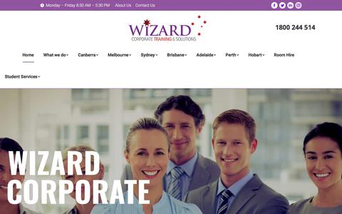 Screenshot of Home Page wizardcorporatetraining.com.au - Wizard Corporate Training & Solutions | Canberra | Melbourne | Sydney - captured July 7, 2018