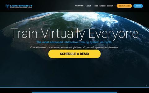 Screenshot of Home Page lightspeedvt.com - LightSpeed VT | Interactive Virtual Training System - captured July 19, 2018