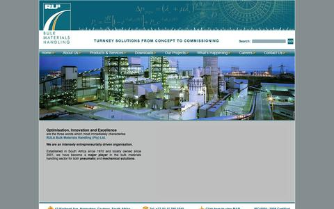 Screenshot of Home Page rula.co.za - RULA - Bulk Materials Handling - captured Oct. 9, 2014