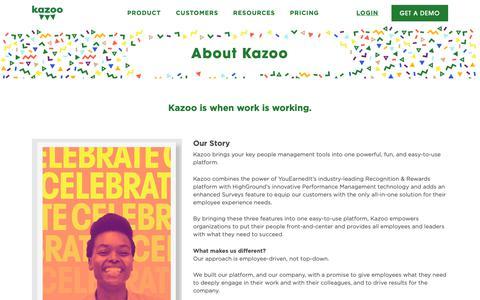 Screenshot of About Page kazoohr.com - Company - Kazoo HR - captured April 15, 2019