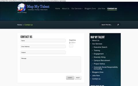 Screenshot of Contact Page mapmytalent.com - Contact us | Map My Talent - captured Oct. 27, 2014