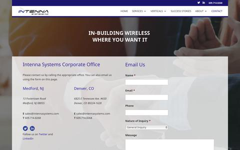 Screenshot of Contact Page intennasystems.com - Contact Intenna Systems In-Building Wireless - captured Oct. 12, 2018