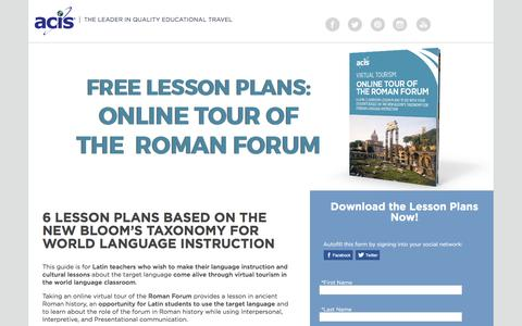 Screenshot of Landing Page acis.com - Online Tour of The Roman Forum Lesson Plans - captured March 30, 2017