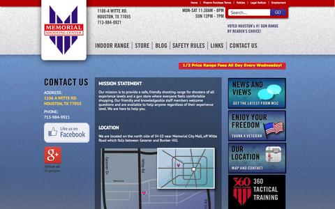 Screenshot of Contact Page memorialshootingcenter.com - Gun Range, Concealed Handgun License & Guns for Sale Houston TX - captured Oct. 27, 2014