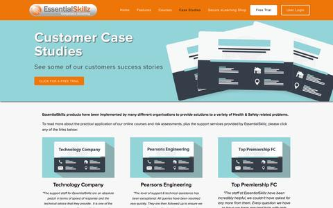 Screenshot of Case Studies Page essentialskillz.com - Health and Safety eLearning Case Studies — EssentialSkillz - captured Oct. 28, 2014