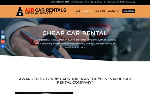 Screenshot of About Page a2bcarrentals.com.au - * Cheap Car Rental - Looking For A Discount Car Hire Place In Sydney? - captured Oct. 2, 2018