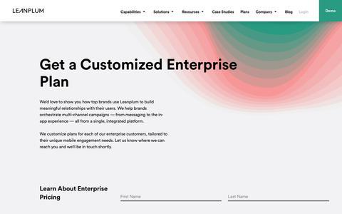 Get a Customized Enterprise Plan   Leanplum