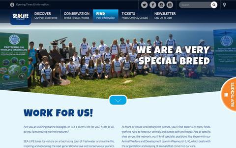 Screenshot of Jobs Page visitsealife.com - Work for SEA LIFE - Jobs & Vacancies at SEA LIFE Aquariums - captured Feb. 20, 2018