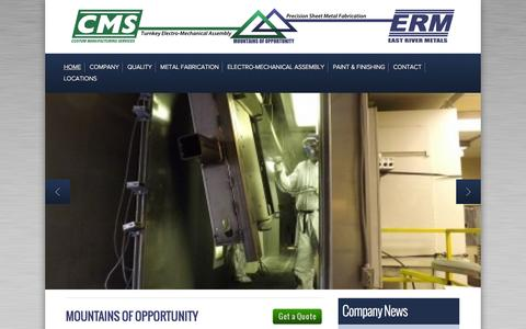 Screenshot of Home Page cmserm.com - CMS | Sheet Metal Fabrication | Laser Metal Cutting Specialists - captured Oct. 3, 2014