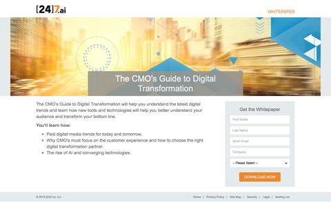 Screenshot of Landing Page 247.ai - The CMO's Guide to Digital Transformation - captured March 4, 2018
