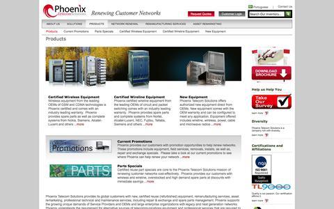 Screenshot of Products Page phoenix-ts.com - Telecommunications Equipment - captured Jan. 28, 2016