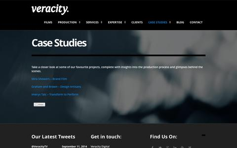 Screenshot of Case Studies Page veracitydigital.tv - Case Studies | Video Production Manchester and Chester - Veracity Digital - captured Sept. 30, 2014