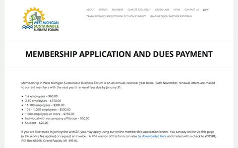 Screenshot of Signup Page wmsbf.org - Membership Application and Dues Payment | West Michigan Sustainable Business Forum - captured Dec. 15, 2016