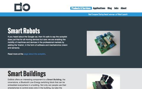 Screenshot of Products Page dobots.nl - DoBots | Products & Services - captured Oct. 5, 2014