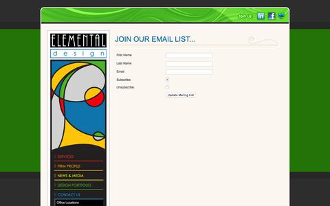 Screenshot of Signup Page elemental-design.com - Contact Us - Elemental Design - captured Jan. 27, 2016