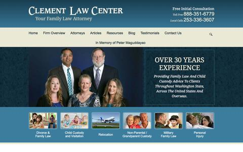 Screenshot of Home Page clementlawcenter.com - Federal Way Family Law Lawyer | Seattle Out of State Child Custody Attorney | Tacoma Military Family Law Lawyer - captured July 18, 2018