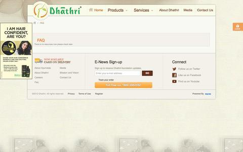Screenshot of FAQ Page dhathri.com - Dhathri : Faq - captured Oct. 5, 2014