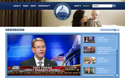 Screenshot of Press Page frc.org - Family Research Council - captured Sept. 19, 2014