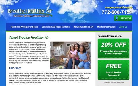 Screenshot of About Page breathehealthierair.com - About Us - Hvac Company in Stuart, Fl - captured Sept. 30, 2016