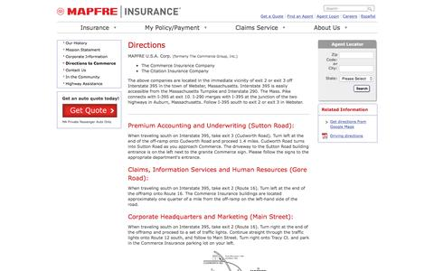 Screenshot of Maps & Directions Page commerceinsurance.com - Directions to MAPFRE | Commerce Insurance - captured July 15, 2016