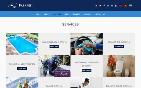 Screenshot of Services Page parapetcleaning.com - Services - Parapet Cleaning Services - captured June 15, 2019