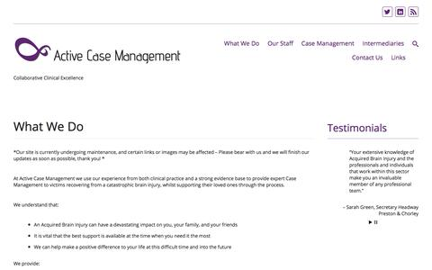 Screenshot of About Page activecasemanagement.co.uk - What We Do   - captured Oct. 7, 2017